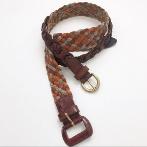 Bundle 2 Vintage Woven Leather Brass Buckle Belts